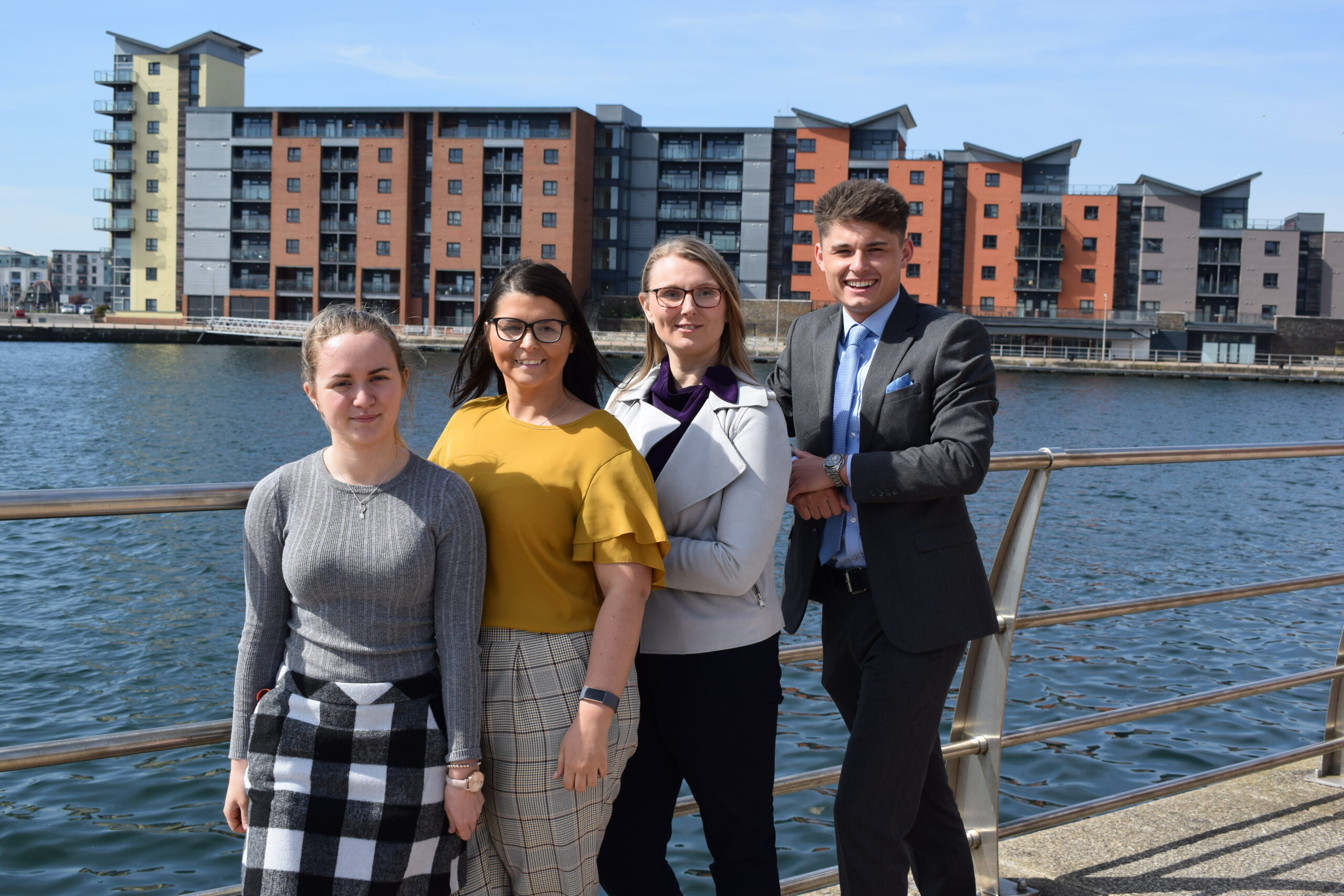 4 staff members of Bevan Buckland LLP at Swansea Waterfront