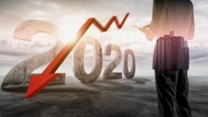 2020 with a downward red arrow