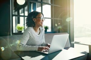 Self employed women using a laptop